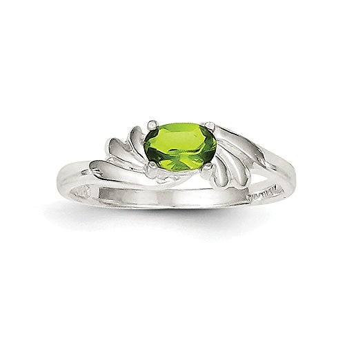 925 Sterling Silver Lime Green Oval Cut Cubic Zirconia Solitaire Ring