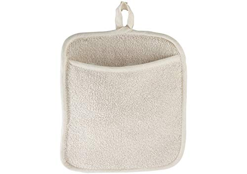 Large Terry Cloth Pot Holders, w/Pocket, Potholders, Oven Mitts, Heat-resistant to 200°, 9½ x 8½ Inches, Set of 12 ( 1 dozen) - Beige Color by Winco US