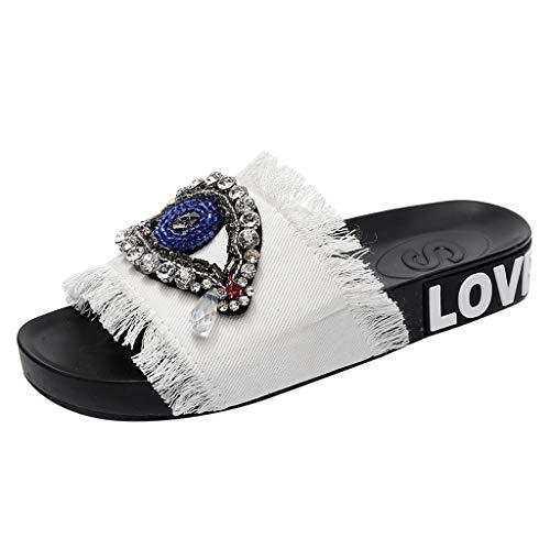 KESEELY Summer Women Denim Slipers - Ladies Girls Crystal Flat Rhinestones Sandals Slippers On Wide Beach Shoes White ()