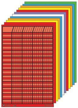 Shapes Se-0369 Small Chart Set Of 12 Assorted Colors44; 1 4 In. X 2 2 In. With 1.2 In. X 1.2 In. Squares Printed On Heavy Tagboard by Shapes Etc.