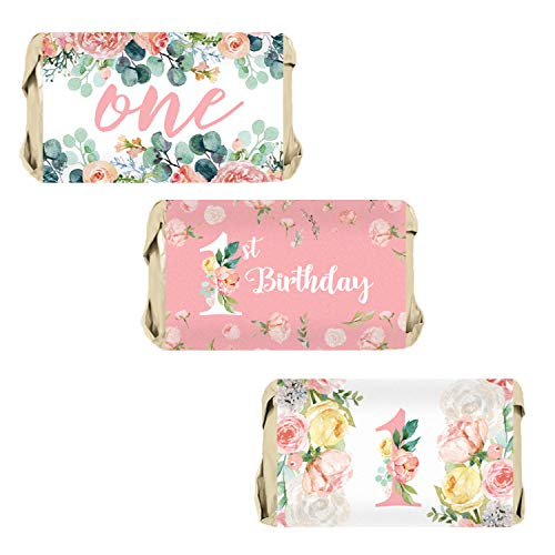 Pink Floral 1st Birthday Party Mini Candy Bar Wrappers, 54 Stickers -