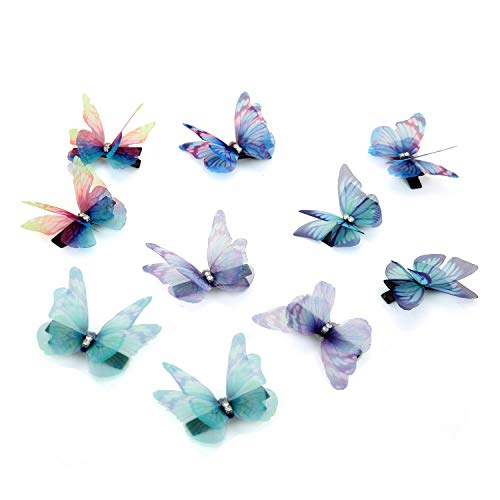 - 10 pc Women Lady Girls Bridal Butterfly Hair Clips Cute Rhinestone Chiffon Butterflies Hair Accessories Barrette for Infant Toddlers Kids