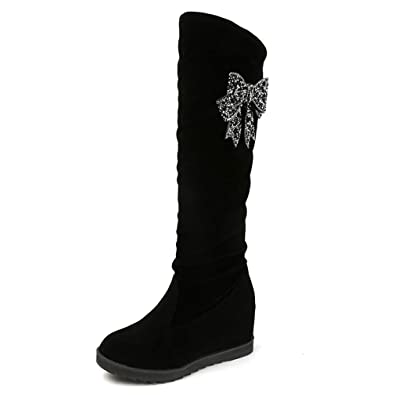 Winter Bowknot Womens Faux Suede Over The Knee Hidden Wedge Heels Snow Boots SZ