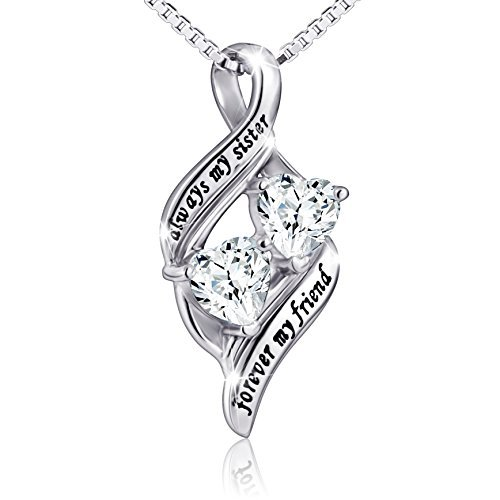 925 Sterling Silver Always My Sister Forever My Friend Double Love Heart Necklace, Box Chain 18''