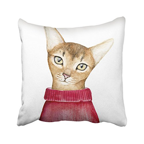 Emvency Closeup Portrait of Cute Abyssinian Cat Looking at Camera Dressed in Warm Red Knitted Sweater Hand Watercolor Throw Pillow Cover Covers 18x18 Inch Decorative Pillowcase Cases Case Two - Kitty Collar Gingham