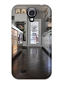For Galaxy S4 Protector Case Dark Hardwood Floors With White Cabinets In Kitchen Phone Cover