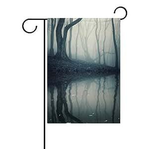 jstel casa bosque con niebla sobre Halloween tela de poliéster jardín banderas Lovely y resistente al moho Custom de resistente al agua 12x 18inch, multicolor, 12.5x18 inch