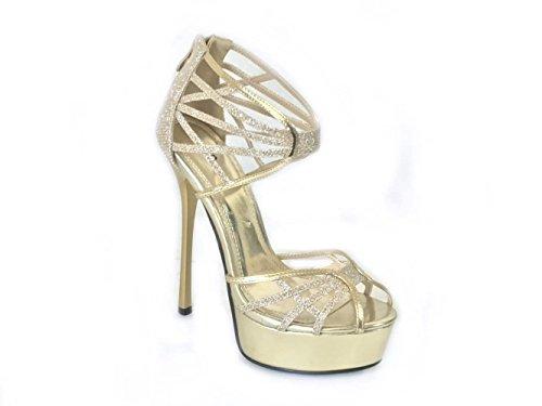 Mujer Con 6521a Zapatos Tacón Sko's Gold 92478 xWPHnFqWw0