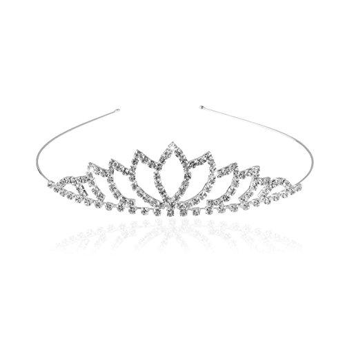 Pixnor Wedding Tiara Bridal Rhinestone Decor Hairband Hair Clip Hair Loop Tiara