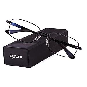Agstum Titanium Full Rim Glasses Frame Optical Eyeglasses Rxable (Black, 56)