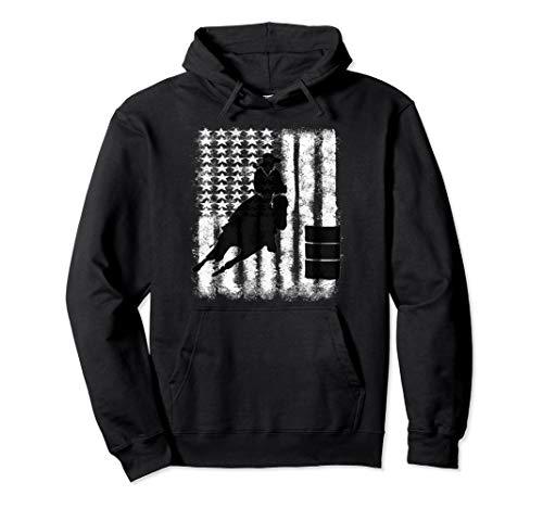 Barrel Racing Distressed Grunge Cowgirl Hooded Sweatshirt