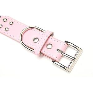BINGPET BA2006 Real Split Leather Studded Pet Dog Collar Pink