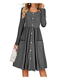 DEMO SHOW Women's Dresses Casual Long Sleeve Pleated Skater Midi Dress with Pockets