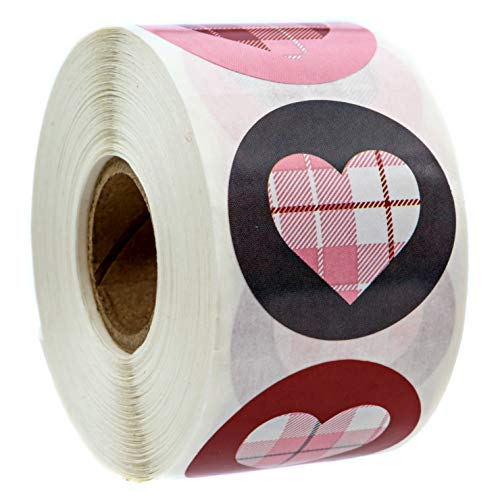 Buffalo Plaid Hearts Stickers/Happy Valentines Day Stickers - 1.5 Circle Labels / 500 Wedding Stickers per Pack
