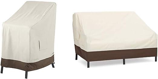AmazonBasics - Funda Protectora para sillas apilables + Funda Protectora para sofá de 2 plazas: Amazon.es: Jardín