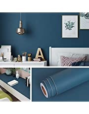 Livelynine 40 cm x 5 m meubelfolie zelfklevend behang petrol blauw kleeffolie turquoise wandbehang decoratieve folie voor meubels kinderkamer kinderen keukenkasten kast woonkamer deur vensterbank afwasbaar