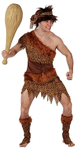 Cave Man Outfit (Mens 4 Piece Prehistoric Caveman Cave Man Dinosaur Party Carnival Fancy Dress Costume Outfit M-XL (XL))
