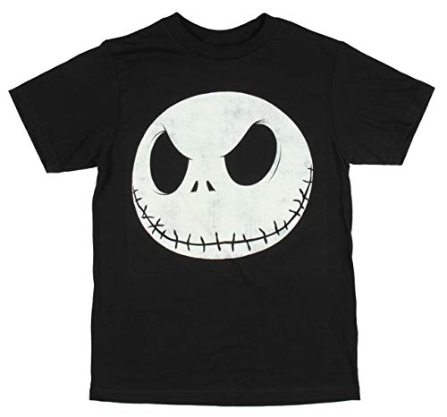 (Disney Tim Burton The Nightmare Before Christmas Boys' Distressed Jack Head T-Shirt (Medium) Black)