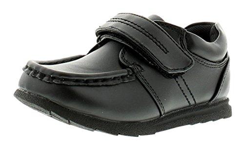 NEU Jungen schwarzes Kunstleder Schulanfang Schuhe Klettverschluss - schwarz - UK Größen 6-12