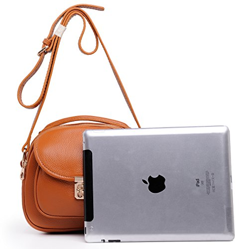 Handbags Shoulder Brown Satchel Small Candy Purse Hand Leather Carry Women Single Color Heshe t1qzxFwO