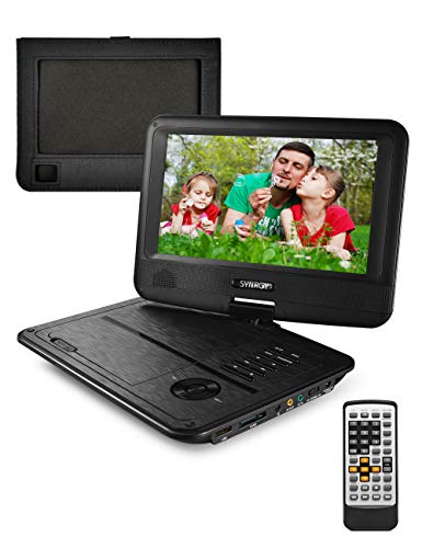 Portable DVD Player, CD Player, Swivel Angle Adjustable Display Screen, USB/SD Card Memory Readers, and Built-in Rechargeable Battery with Remote Control, Headrest Mount Holder (9.8 Inches)