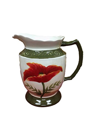 Tuscany Floral Poppy, Hand Painted Ceramic collection (PITCHER)