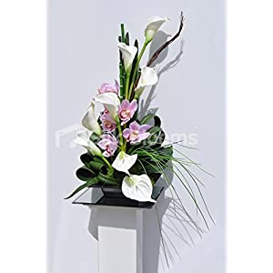 Modern Artificial Calla Lily, Anthurium and Fresh Touch Cymbidium Orchid Floral Display 120