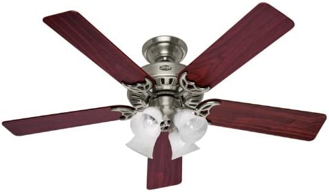 Hunter 20183 52 Inch Studio Series Ceiling Fan Brushed Nickel with Cherry Maple Blades