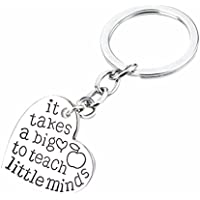 SODIAL Best Teacher Gift it takes a big to teach little minds Charm Love Heart Pendant Keychain