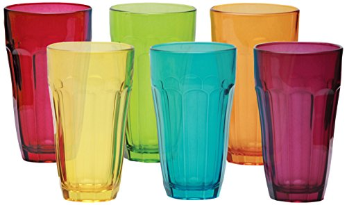 Circleware 44249 Heavy Base Colored Juice Drinking Glasses, Kitchen Entertainment Dinnerware Ice Tea Beverage Cups Glassware for Water, Milk, Beer, Whiskey and Bar Decor, Set of 6-12oz, Overture