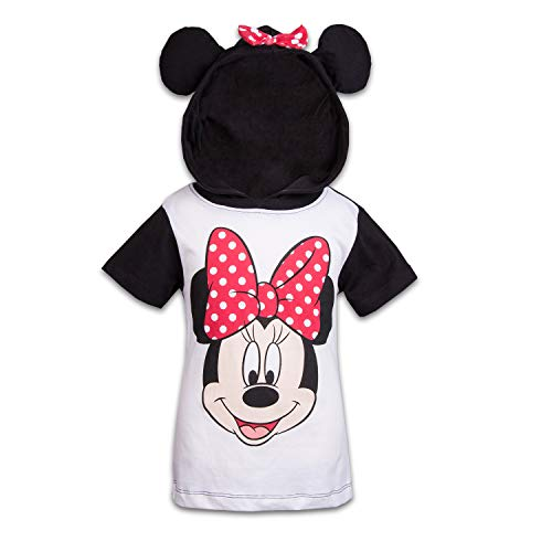 (Disney Minnie Mouse Girls Hooded Shirt Minnie Friends Costume Tee (Black,)