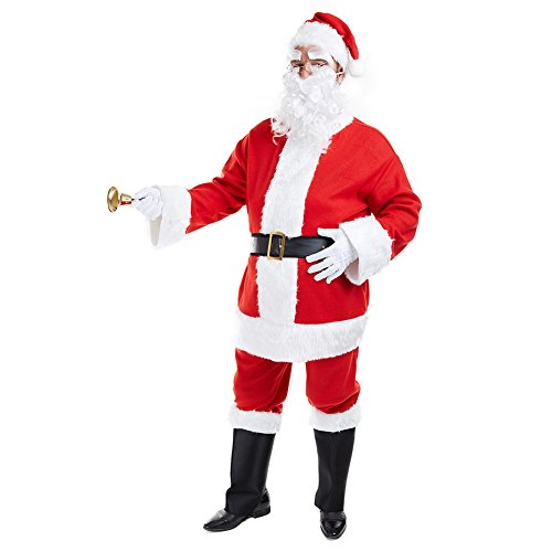 Charm Rainbow Santa Claus Suit Classic Men's Adults Costume for Christmas Holiday(STD) Red -