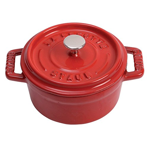 Staub 40509-799 Cast Iron Mini Round Cocotte, 0.25-quart, Cherry 1/4 Quart Cast Iron