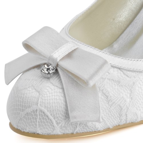 Wedding Rhinestones Shoes Satin Women EL Pumps Bowknots Heel White Closed Mid Toe Lace Elegantpark 003 Bridal O6xvgwB