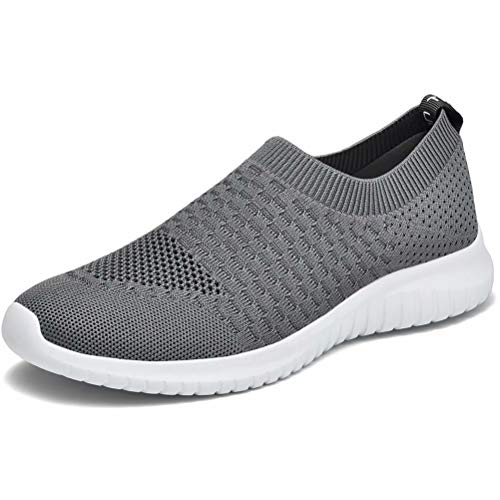 konhill Women's Walking Tennis Shoes - Lightweight Athletic Casual Gym Slip on Sneakers 10 US Dark Grey,42