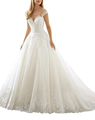 Kevins Bridal Women's A Line Wedding Dress 2017 See Through Back Long Bridal Dress
