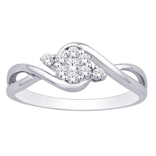 - Saris and Things 10K White Gold 0.17 Ct.tw. Diamond Flower Ring