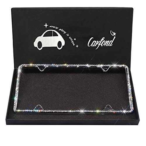 Carfond 1 Row Pure Handmade Waterproof Bling Bling Selected Rhinestones License Plate Frame Bonus 4 Matching Screws&Caps(Silver)