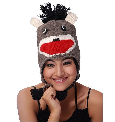 ANIMAL FACE HAT WITH FLAP EARS AND POMS The Collection Royal BROWN MONKEY Winter Ski Hat Cap ADULT Warm Gift -