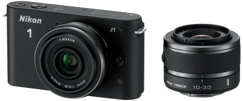 Nikon 1 J1 Systemkamera (10 Megapixel, 7,5 cm (3 Zoll) Display) schwarz inkl. 1 NIKKOR VR 10-30 mm und 10 mm Pancake Objektive