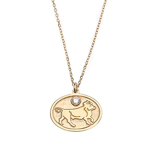 - CaliRoseJewelry 14k Yellow Gold Taurus Zodiac Sign Cubic Zirconia Pendant Necklace, 16