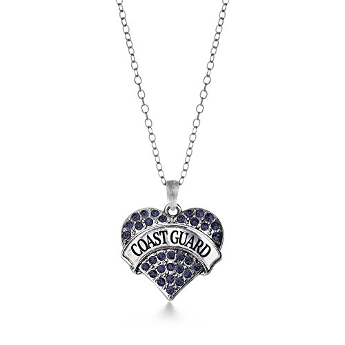 (Coast Guard Blue 1 Carat Classic Silver Plated Heart Crystal Charm Necklace Jewelry)