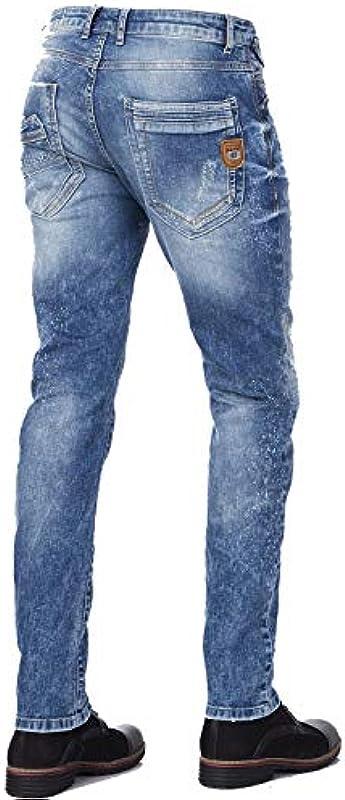 Cipo & Baxx męskie dżinsy destroyed spodnie Straight Fit Frayed Used Denim spodnie niebieskie W34 L32: Odzież