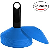 Reehut (Set of 25) Agility Disc Cone with Free User E-Book & Plastic Holder - Perfect for Soccer,Football & Any Ball Game to Mark - Disc Mini Training Cones - Field Markers - White