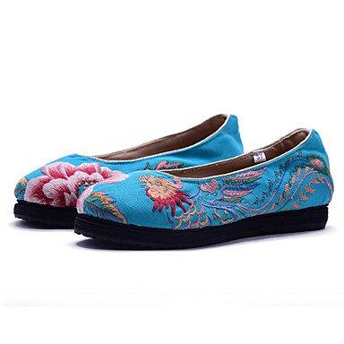 Cómodo y elegante soporte de zapatos de las mujeres pisos comodidad lienzo de primavera verano otoño al aire libre vestido Casual Athletic soporte de talón satén flores flor negro azul rosa beige Walk azul