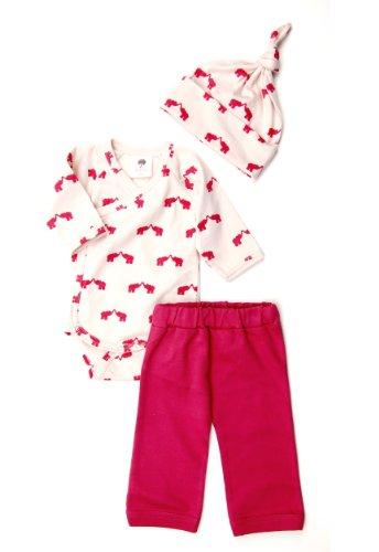 Kate Quinn Organics Play Set (Kimono Bodysuit, Pants, Hat), 0-3M (Elephant)