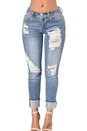 yulinge Las Mujeres Jeans Rasgado Destoryed Ankle Pantalón De Mezclilla con Bolsillo Blue1