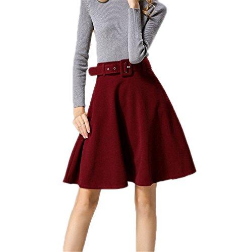 Suit Wool Skirt Red (Richard Women Skirt Fashion Autumn Winter Wool Skirt For Women High Waist Wine Red S)