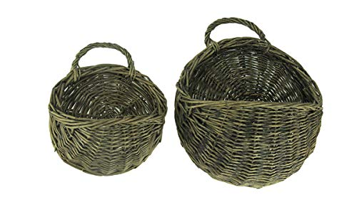 Rustic Round Weaved Wicker Wall Basket Set of 2