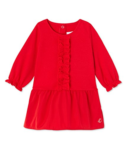 Petit Bateau Girls' Dress with Taffeta Skirt, Red, 12-18 Months Baby (Petite Taffeta Skirt)